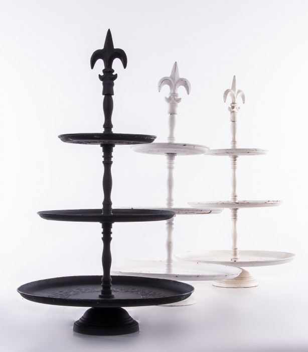 Fleur De Lys Design Cake Stand Muffin Stand Cake Display Stand in Four Finishes