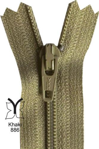 Beige YKK Closed End Nylon Zips Brown Tan Khaki 4-22 Inch 10-56cm