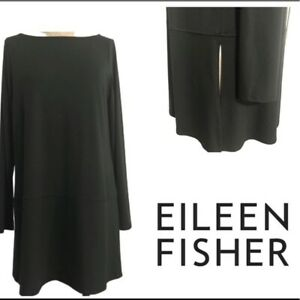 Eileen-Fisher-Womens-Ballet-Neck-Tencel-Over-sized-Tunic-Top-Size-Medium-Black