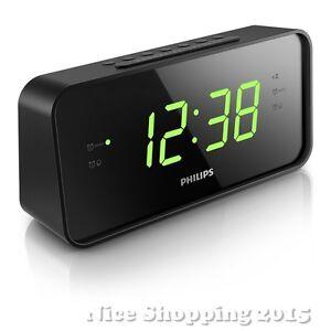 philips led large big display alarm clock digital radio fm dual wake up bedroom ebay. Black Bedroom Furniture Sets. Home Design Ideas