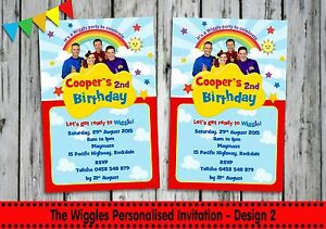 THE WIGGLES BIRTHDAY PARTY SUPPLIES PERSONALISED INVITATIONS CARDS