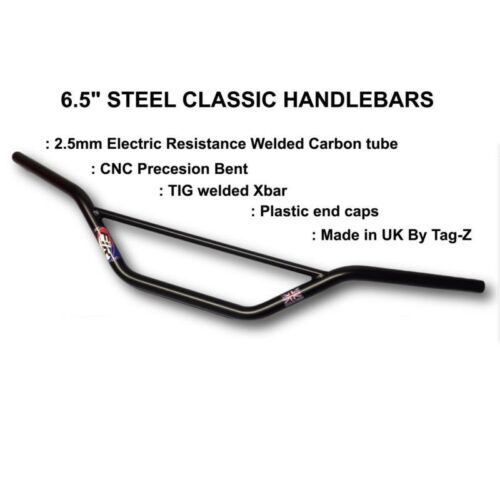 "New FIR Handlebars Classic Bend High 6.5/"" Black Motocross Enduro Bars 22mm"