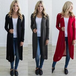 Hot-Women-Long-Maxi-Cardigan-Sweater-Coat-Jacket-Open-Front-Draped-Outwear-Tops