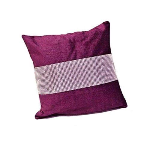 Four X Cushion Covers Aubergine Eclat Diamante 43 cm x 43 cm New