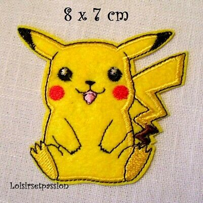 POKÉMON PIKACHU Assis ** 8 x 7 cm ** N°4 ÉCUSSON PATCH thermocollant