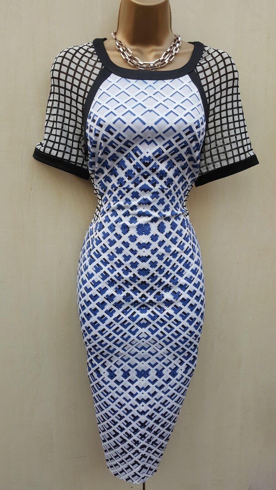 Größe 14 UK KAREN MILLEN Signature Check Print Pencil Dress