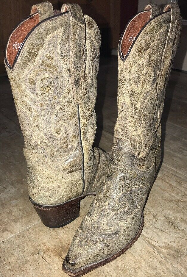 Wms DAN POST EL PASO WESTERN COWGIRL BOOT DP3247 Tan Distressed Leather Sz 8M