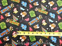 Golf Tee Time Bags Balls Flags Shoes On Black By Yards Fabri-quilt Cotton Fabric