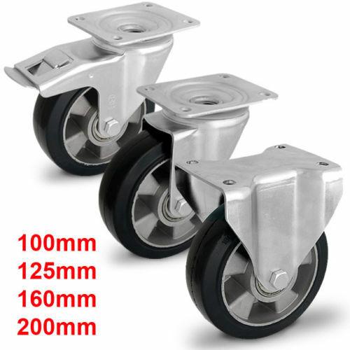 Schwerlastrollen Transportrolle Gummirad 100 125 160 150 200 mm 480-1200kg