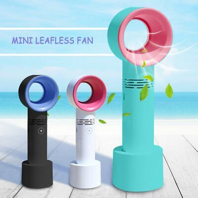 360° Portable Cool Bladeless Hand Held Cooler Mini USB Cable No Leaf Handy Fan