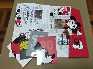 Mickey mouse 90 years Set of 4 Fdc 1 folder 2 stamp sheet 4 poscards malaysia