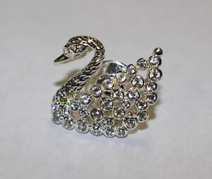 SWAROVSKI-Silver-Clear-Rhinestone-Pave-Crystal-Swan-Brooch-Pin-Tie-Tack-Sign