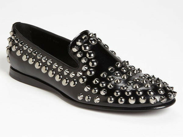 b7e319a4db4 PRADA Men Silver Studded Black Smooth Leather Loafer Shoes Size UK 9 US 10   1150
