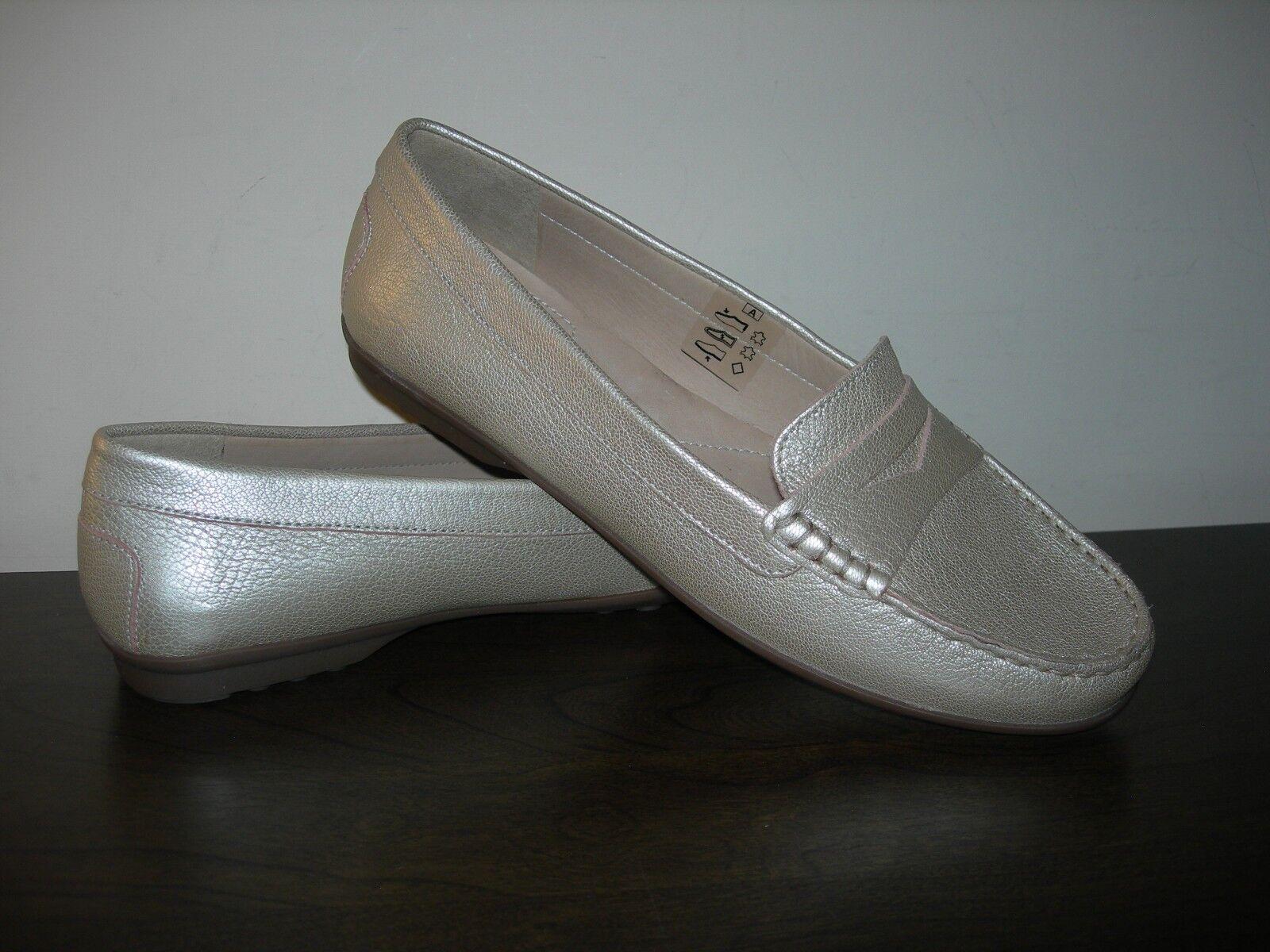 GEOX RESPIRA WOMEN'S Schuhe (II) SLIP ON CHAMPAGNE GOLDEN LEATHER EU 41 / UK 7.5