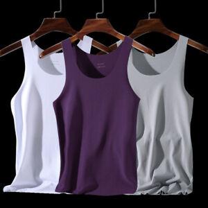 Men Ice Silk Tank Solid Tops Summer V-neck Sleeveless Vests No Trace Elastic
