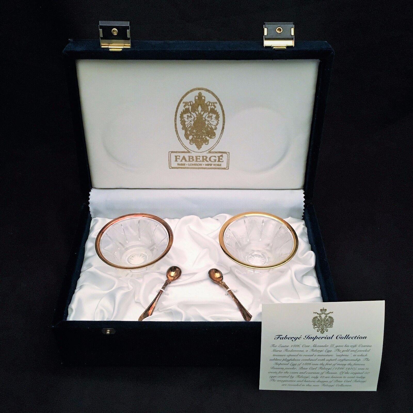 Faberge Cristal Salero par con libra esterlina cuchara Nuevo En Caja