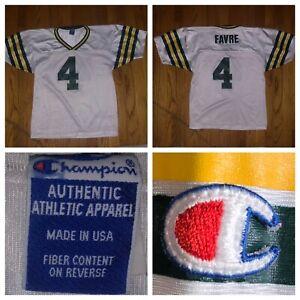quality design 6d990 5f7c0 Vtg Champion Green Bay Packers Brett Favre #4 White Kids ...