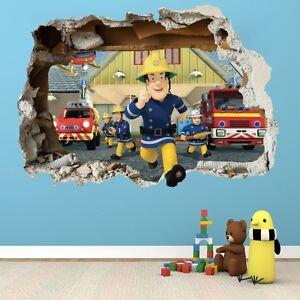 Feuerwehrmann Sam Fireman Wandtattoo Loch Sticker 3d Wandaufkleber