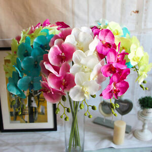 Weight-55g-Artificial-Butterfly-Orchid-Silk-Flower-Home-Wedding-Decor-Bouquet