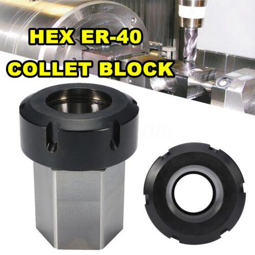 Hex ER40 Spring Collet Chuck Block Collet Holder for Lathe Engraving