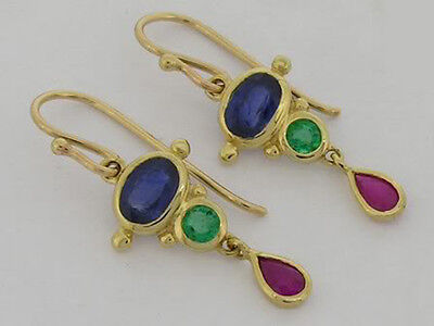 E080 Genuine 9K Yellow Gold Natural Sapphire Ruby Emerald Colorful Drop Earrings