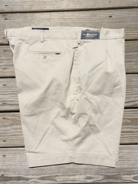 NWT Polo Ralph Lauren Classic Pleated Fit Chino Shorts Khaki Color 50B