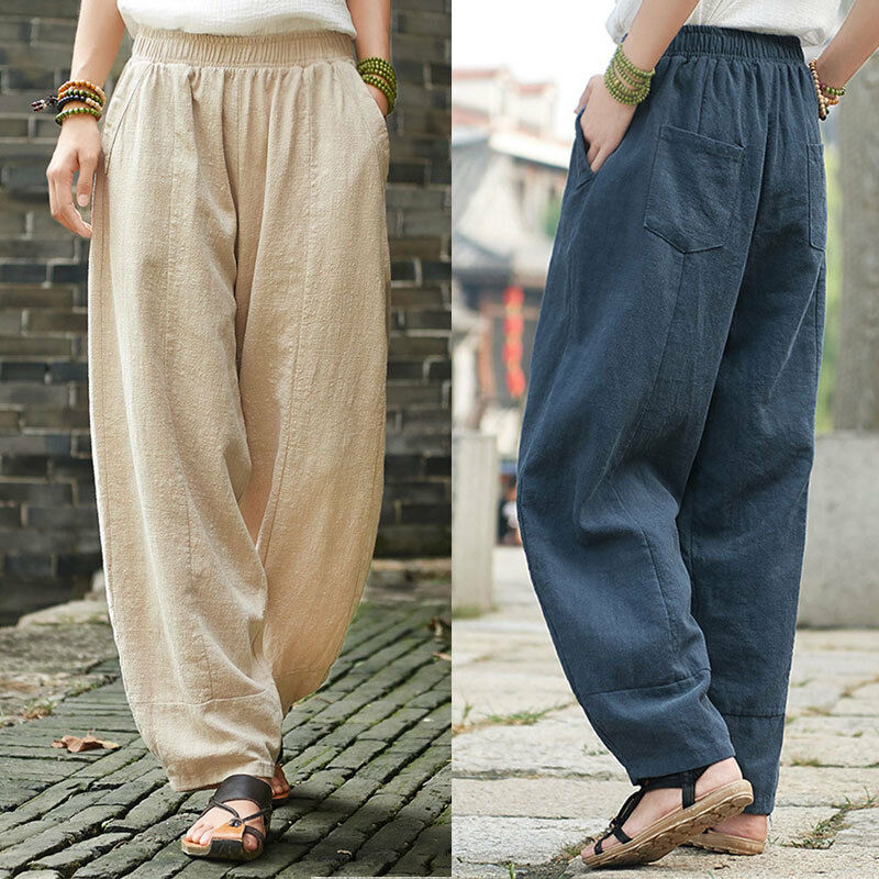 Women's Autumn Wide Leg Lantern Pants Pull On Casual Long Length Trousers yoga
