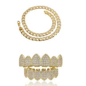 Hip-Hop-Stainless-Steel-Gold-Filled-Curb-Chain-Necklace-Gold-Grills-Teeth-Set
