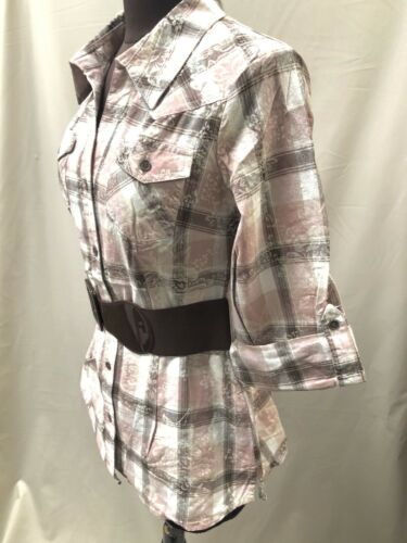 Ladies Chunky Belt Check Shirt Blouse Top Tunic Sizes 34 40 36 42 NEW 38