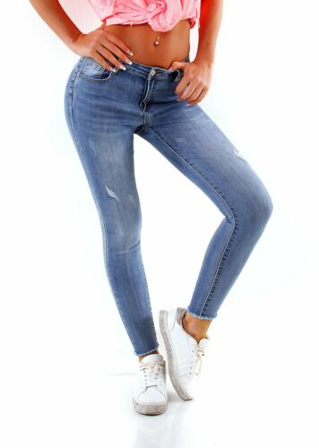 4146 salsiccia Jeans Da Donna Tubo Skinny Stretch Denim Slimfit Basic orlo FRANGE