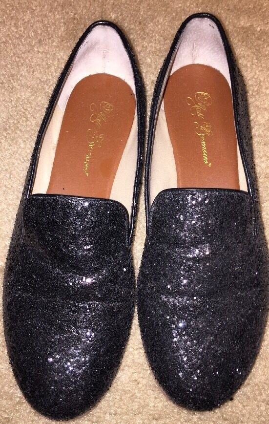 DESIGNER MATT BERNSON GUNMETAL SEQUIN GITANES SMOKING LOAFERS  9 168 EUC