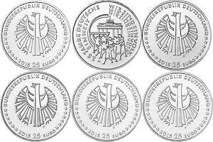 Deutschland-5-x-25-Euro-2015-Deutsche-Einheit-bfr-Mzz-A-D-F-G-J-in-Muenzkapsel