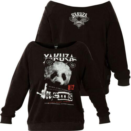 YAKUZA Damen Panda Wide Crew Neck Sweatshirt GPB-16105 Black Schwarz