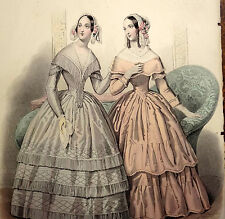 LE FOLLET 1845 Hand-Colored Fashion Plate #1229 Satin Gowns FRINGE Orig.Print