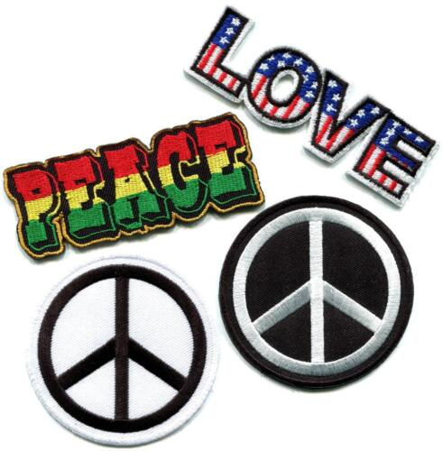 Lot of 4 peace sign hippie retro love boho weed appliques iron-on patches P-3