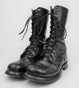 Details about VINTAGE 1970s Black Leather US ARMY Combat Military CAP TOE Work Boots MEN'S 6