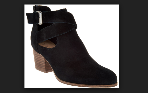Sole Society Suede Cross-Strap Ankle Boots - Azure Black Women's Size 5.5 New