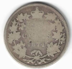 CANADA-1874H-TWENTY-FIVE-CENTS-QUARTER-QUEEN-VICTORIA-STERLING-SILVER-COIN