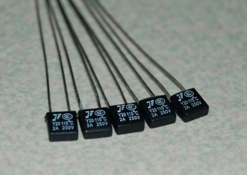 5 Pcs Small Square type Circuit Protection Thermal Fuse 115℃ 250V 2A