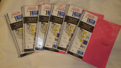 Lot of 6 Mead Five Star Graph Ruled 1 Subject Notebook 100 Pages