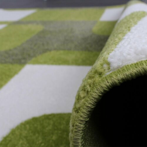 Alfombra Verde Vintage Verde Lima Blanco Brillante geométrica Alfombra Alfombra Alfombra de Sala de Estar