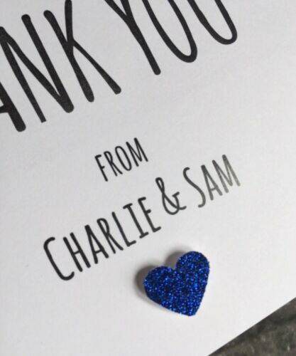 Glitter Heart Personalised  Wedding Thank You Cards /& Matching Envelopes