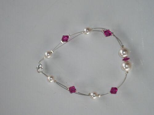 Bracelet femme vera001  blanc et fuchsia bijoux mariée.