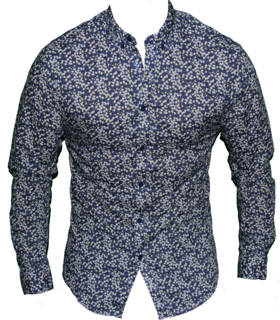 New Ben Sherman Mens Button Up Casual Shirt in Blue Floral Colour Shirt Size S