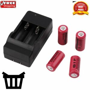 4x 2500mah Cr123a 16340 Rechargeable Li-ion Battery + Charger For Flashligh S6☛