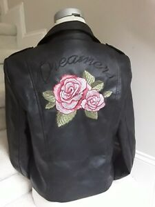 ef39fabad Details about Women's Love Tree Dreamers Embroidered Faux Leather Moto  Biker Jacket Sz L