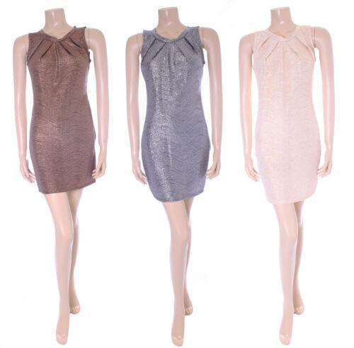 NUOVO evita evening dress size 8 10 12 14 Donna Oro Argento Partito Shimmer Design