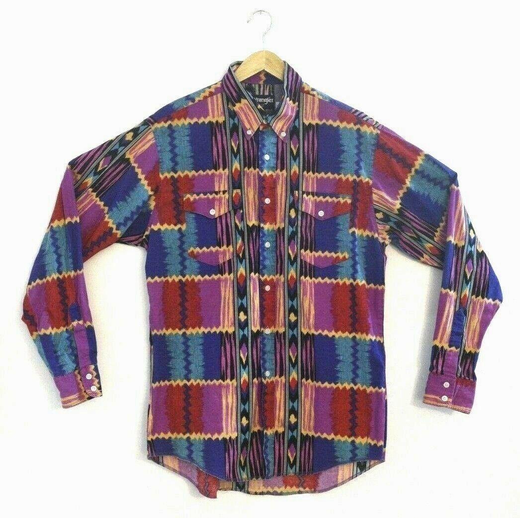 Vintage Wrangler Aztec Cowboy Cut Regular Fit Shirt X-Long Tails USA 16.5 35 EUC