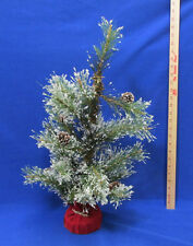 Artficial Miniature Christmas Tree Green Pine Boughs Cones Snow Covered 24""
