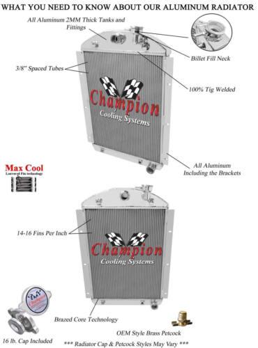 Champion 3 Row Aluminum Radiator for 1941-1946 Chevy Truck V8 Small Block